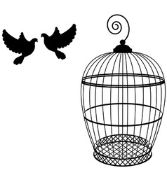 Birdcage and two pigeon vector image
