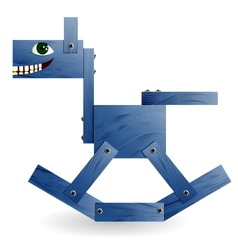 Blue wooden horse vector image vector image