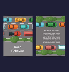 cars on the road with grass and trees on vector image vector image