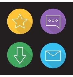 Chat app ui linear icons set vector image