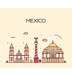 Mexico City skyline Trendy line art style vector image