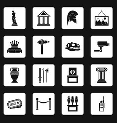 museum icons set squares vector image