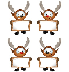 Reindeer Character Holding Wooden Sign vector image vector image