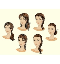 Set of beautiful female faces vector image