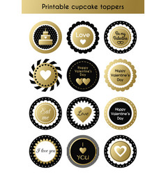 set of printable gold and black cupcake toppers vector image