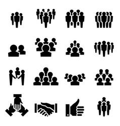 team icon set vector image