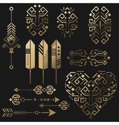 Tribal aztec gold stencil elements vector image vector image