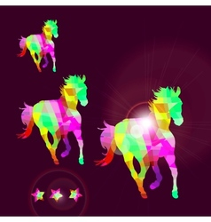 Abstract horse of geometric shapes with stars vector image