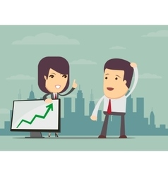 Business woman points to chart of profit vector image