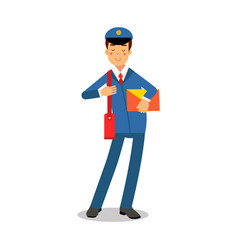 cheerful postman in blue uniform with red bag vector image