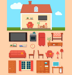 furniture set with home room interior vector image