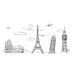 Hand drawn sights of Europe vector image