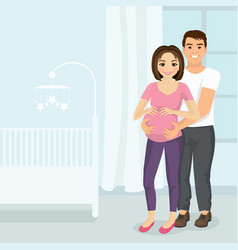 man hugging pregnant woman vector image