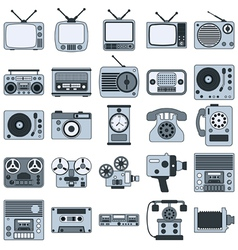 Retro electronic icons vector image