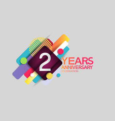 2 years anniversary colorful design with circle vector