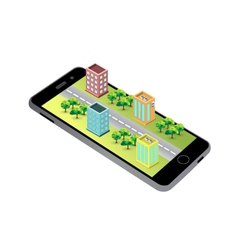 3D map Isometric buildings on the screen of the sm vector image
