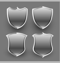 3d shiny metallic shield icons and badges set vector image