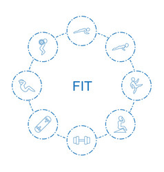 8 fit icons vector image