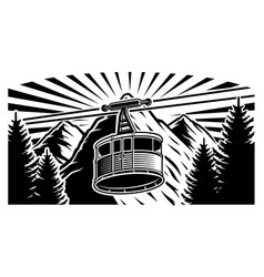 a funicular and mountains vector image