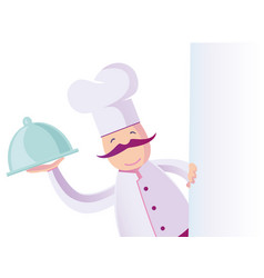 a funny italian chef with blank board vector image