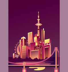 abstract glowing city vector image