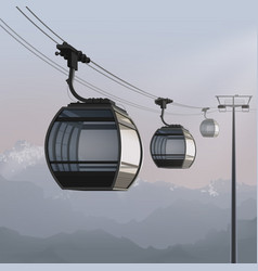 Aerial cable car vector