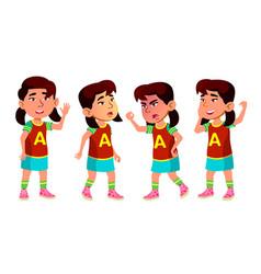 asian girl kindergarten kid poses set baby vector image