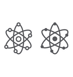 atom structure line and glyph icon scientific and vector image