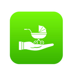 baby pram protection icon digital green vector image