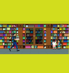 bookshelves library vector image