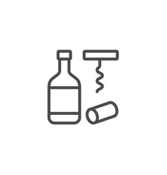bottle corkscrew line outline icon vector image