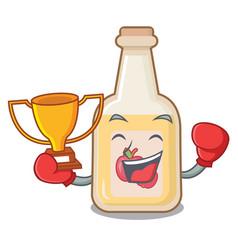 Boxing winner bottle apple cider above cartoon vector