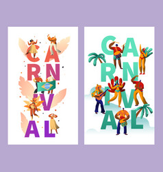brazilian carnival character typography poster set vector image