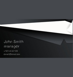 business card template with black suit and tie vector image