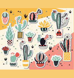 cactus in a pot sticker collection vector image