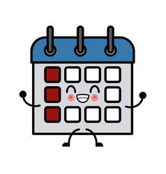 calendar event date cute kawaii cartoon vector image