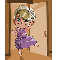 cartoon cheerful girl dancing vector image