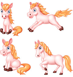 cartoon horse collection set vector image