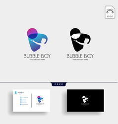 Children playing bubble or balloon logo template vector