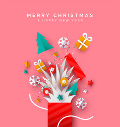 Christmas new year holiday paper cut gift box card vector