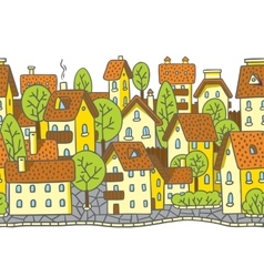 City horizontally seamless pattern with roofs vector