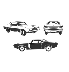 Classic retro muscle cars set vector
