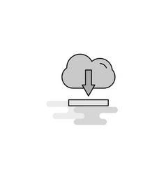 cloud downloading web icon flat line filled gray vector image