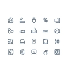 Computer components icons Line series vector