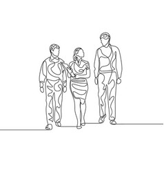continuous line businesswoman with two assistans vector image