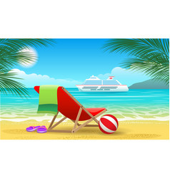 Cruise vessel and beach vector