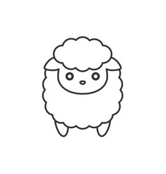 cute cartoon sheep line icon vector image