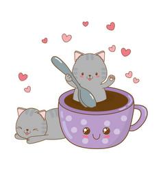 Cute little cats with chocolate mug kawaii vector