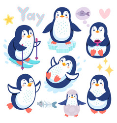 cute penguins skiing having fun drinking tea vector image