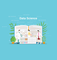 data science concept with laboratory team working vector image